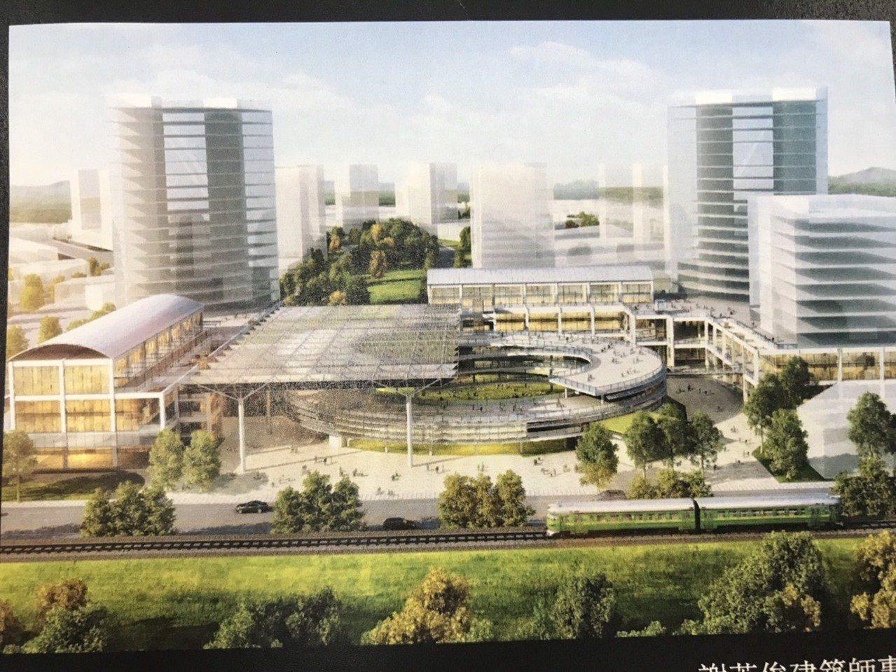 交旅處指出,交通部已核定補助竹東交通轉運站興建工程經費,此為示意圖。圖/縣府提供