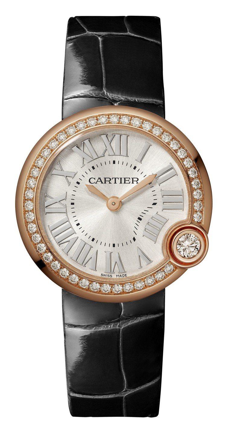 Ballon Blanc de Cartier 白氣球腕表,30毫米玫瑰金鑲鑽款...