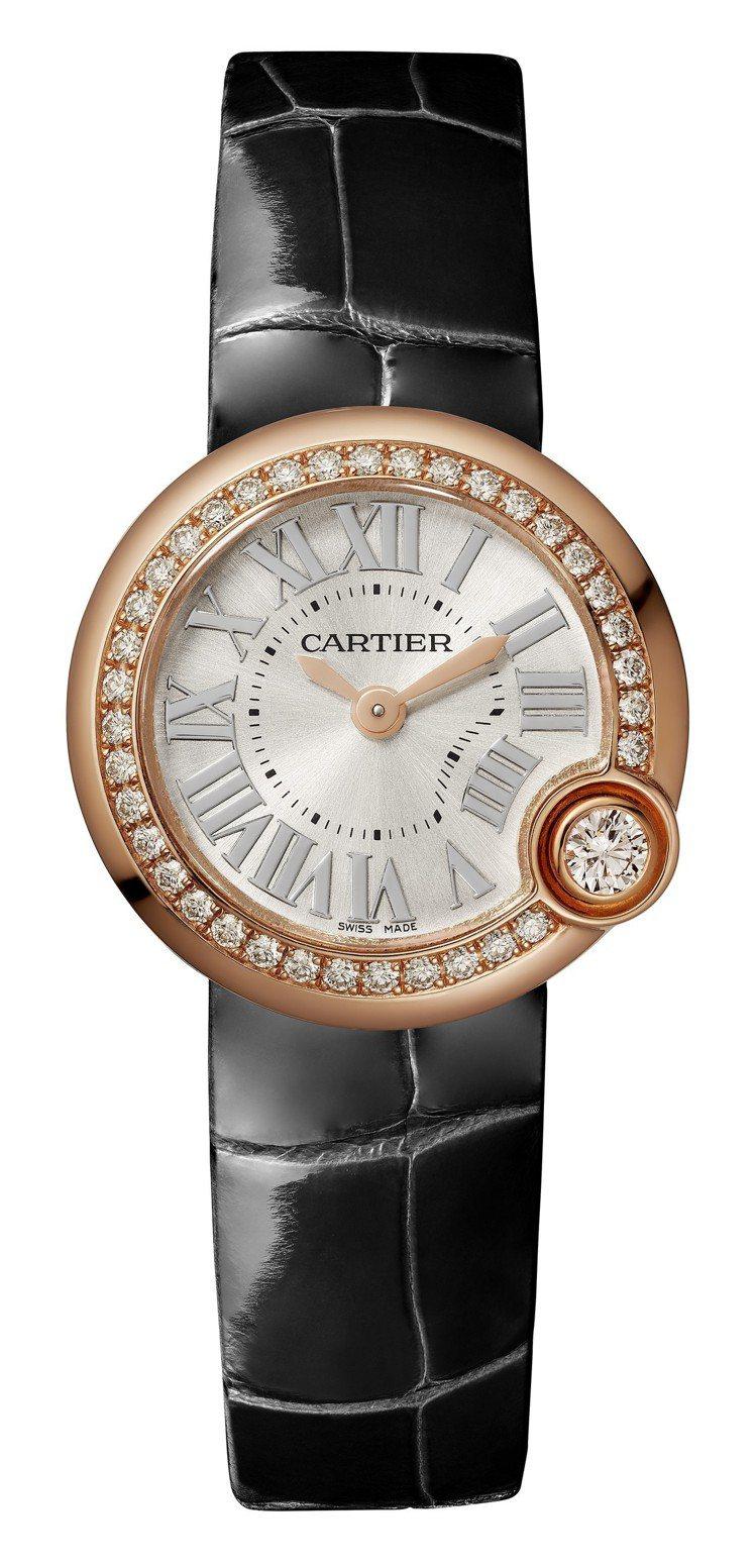 Ballon Blanc de Cartier 白氣球腕表26毫米玫瑰金鑲鑽款,...