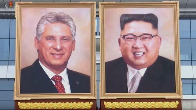 在古巴總統狄亞士-卡奈來訪期間,北韓公布了金正恩首張官方畫像。圖取自BBC