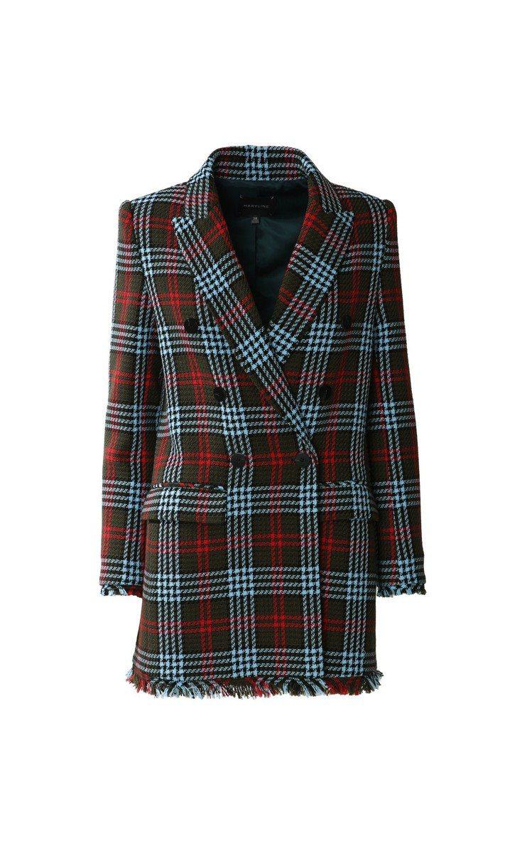 MARYLING雙排釦格紋西裝外套,售價29,480元。圖/MARYLING提供