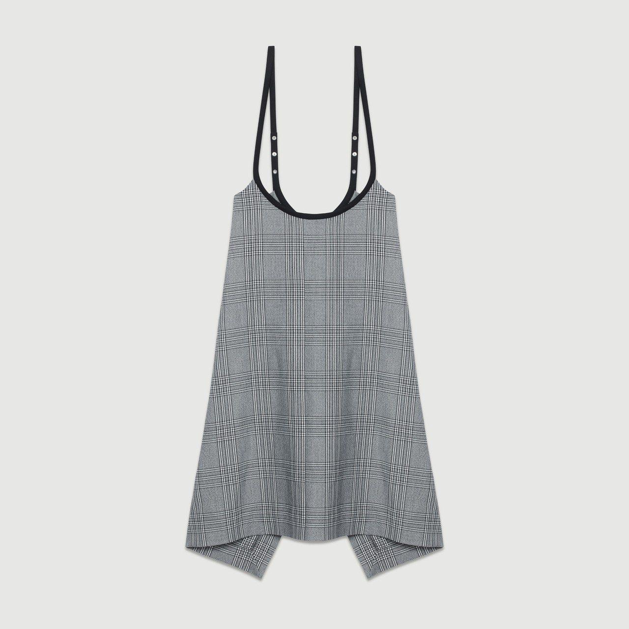 maje灰色格紋細肩帶洋裝,售價8,120元。圖/maje提供