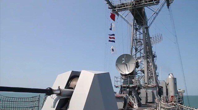 海軍司令部今天下午公布明天成裡軍,新艦76砲升級的畫面。圖/擷自海軍影片