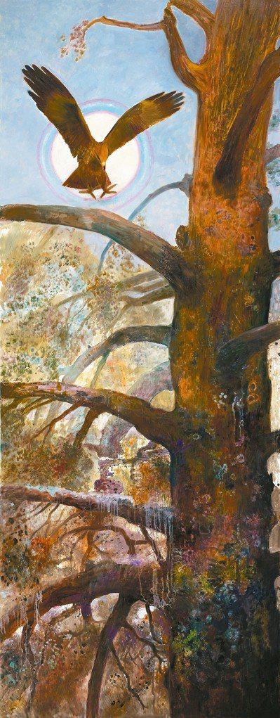 林惺嶽作品〈鷹捿古木〉,500.2x195cm,2015。