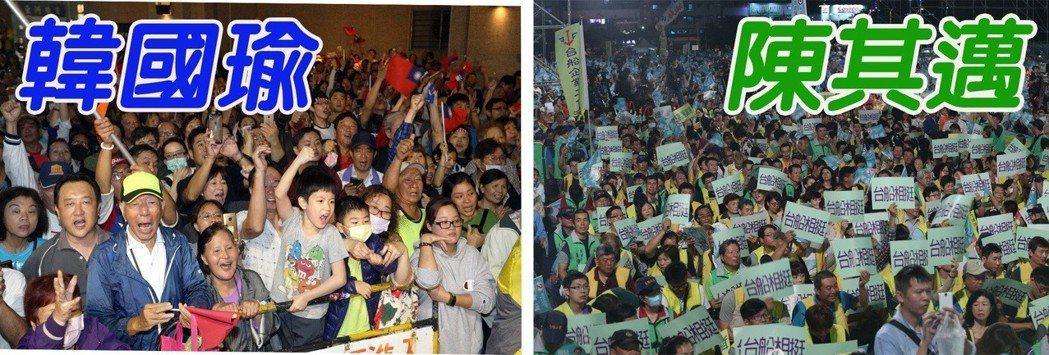 國民黨高雄市長候選人韓國瑜在鹽埕區舉辦造勢晚會(左圖),吸引近萬人前來。民進黨高...