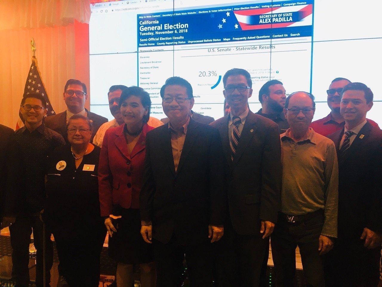 競選連任的聯邦眾議員趙美心(Judy Chu)、加州眾議員周本立(Ed Chau...