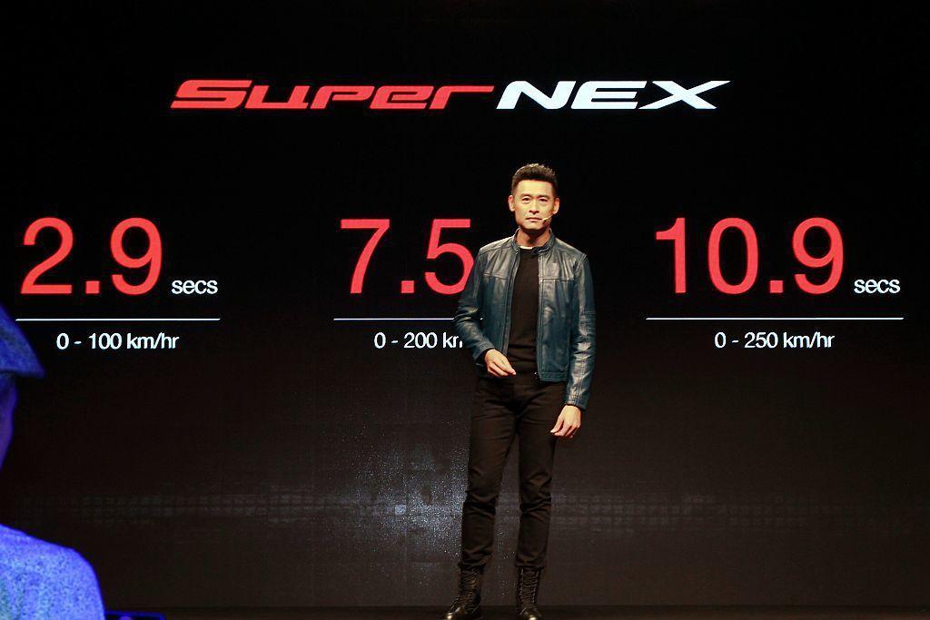 光陽SuperNEX概念車擁有0到100km/h加速2.9秒、0到200km/h加速僅7.5秒、0到250km/h加速更只需10.9秒的傲人表現。 記者張振群/攝影