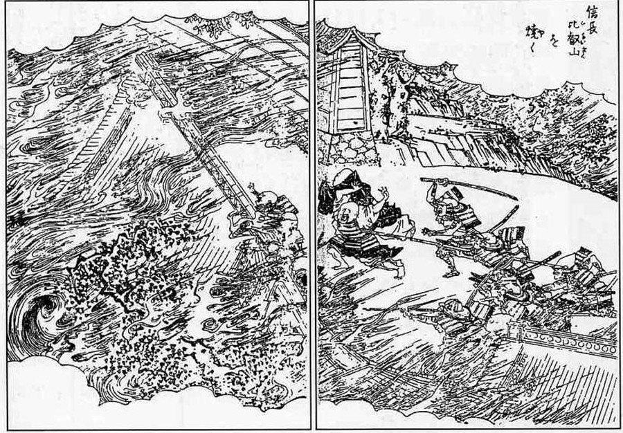 戰國時期針對宗教團的所謂「物理方式」。圖為織田信長的比叡山燒討。 圖/維基共享