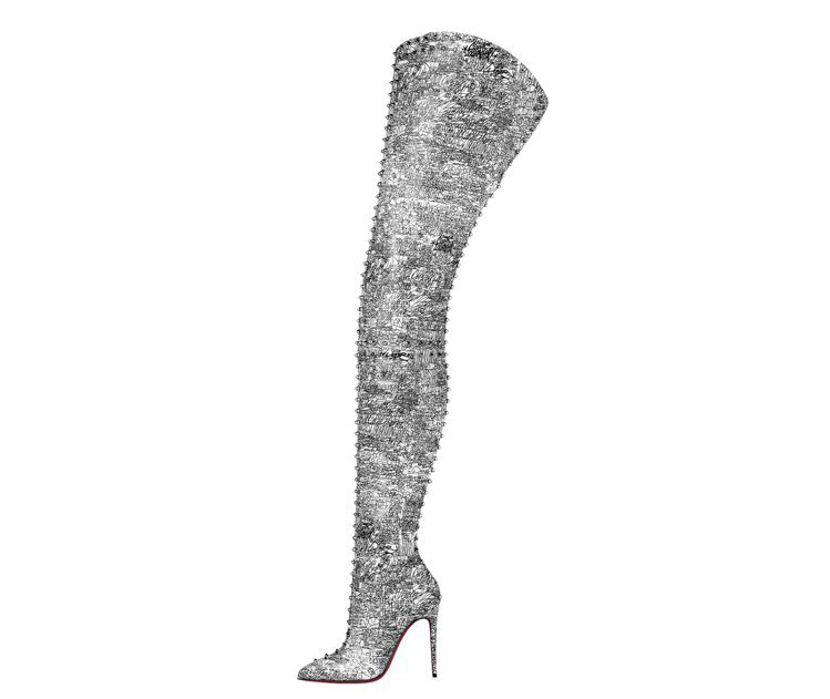 浮誇到了極點的炫閃水晶長筒靴,價格店洽。圖/Chrisitan Loubouti...