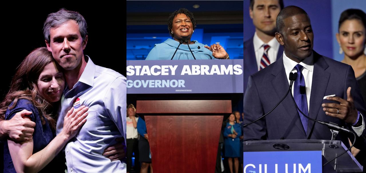 本屆期中選舉民主黨的三名有力挑戰者:競選德州參議員的歐洛克(左)與競選佛州州長的...