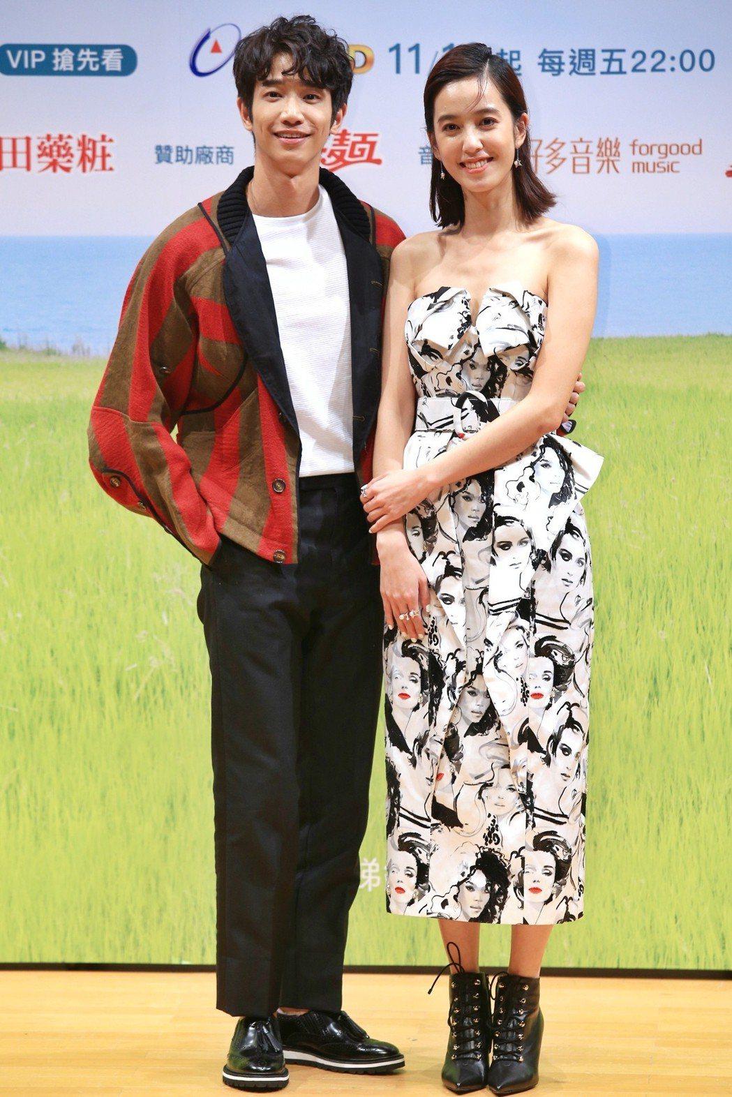 《種菜女神》首映發布會,主要演員劉以豪(左)、陳庭妮(右)出席宣傳。記者林伯東/...