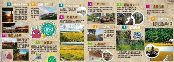 台中市議員候選人施志昌的競選文宣不談政見,他印製「忘憂秘境導覽地圖」介紹在地景點...