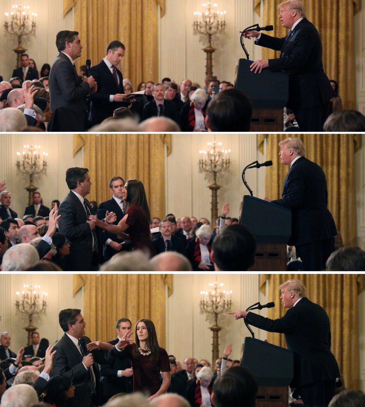 美國總統川普在期中選舉落幕後的記者會中,與CNN記者阿科斯達(Jim Acost...