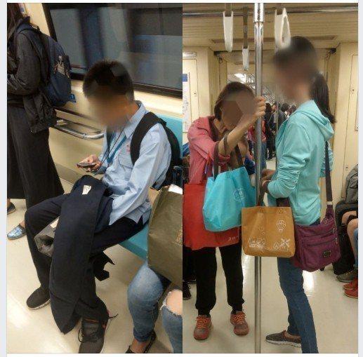 女網友表示在捷運上想讓座給一位抱小孩的媽媽,才起身,座位就被一位小孩占走。圖擷自...