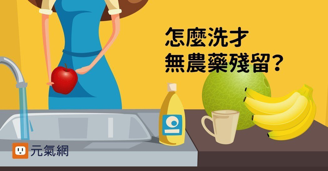 怎麼洗才無農藥殘留?教授提最科學的蔬果洗滌法。製圖/元氣網