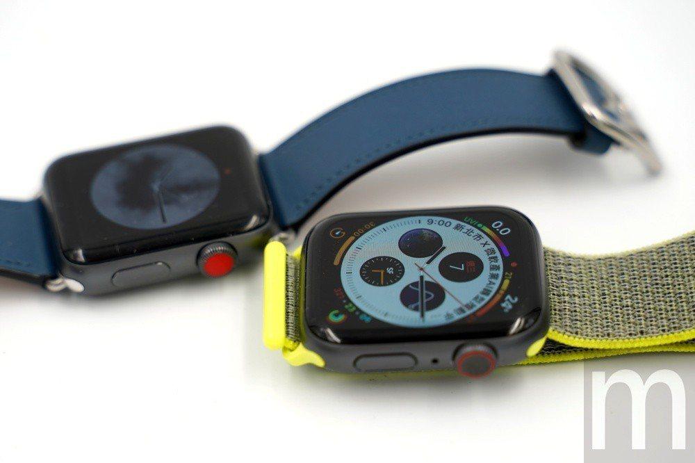 標示eSIM功能的設計不同,Apple Watch series 4採在數位錶冠...