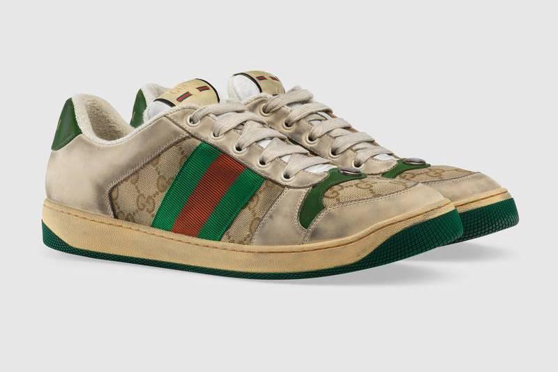 Gucci 2019早春系列新款Distressed GG canvas休閒鞋,...