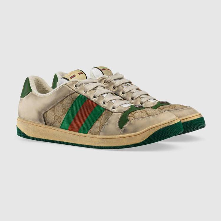 Gucci 2019早春系列新款Distressed GG canvas休閒鞋,...