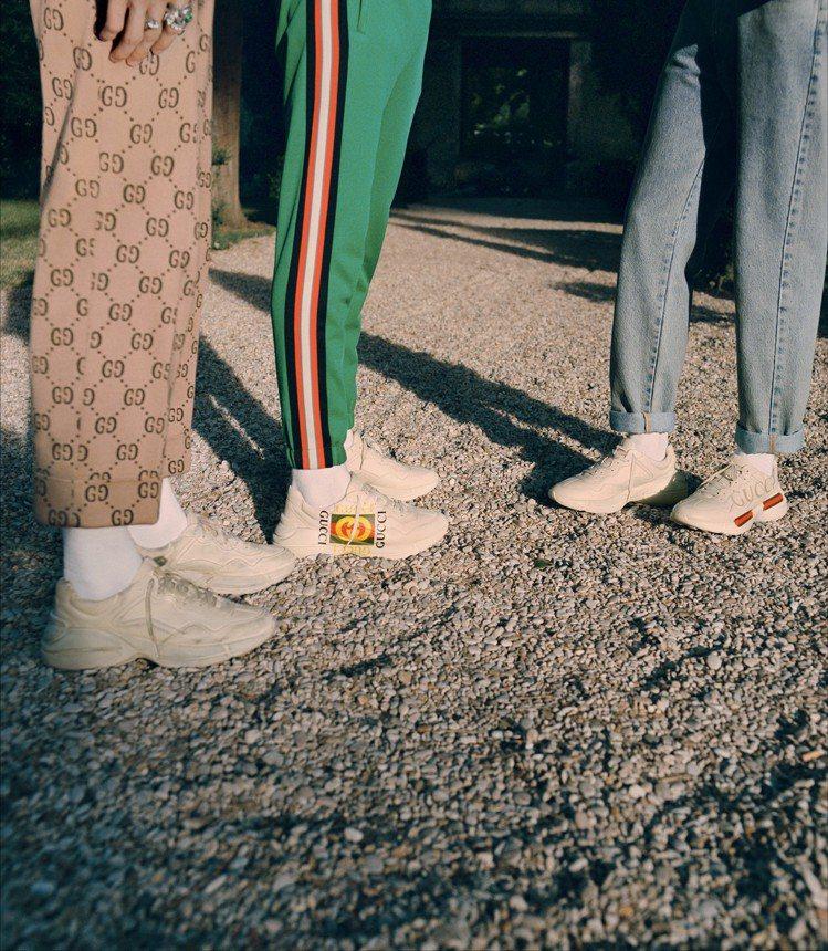 Gucci在2018早春系列就曾推出仿舊質感的Rhyton鞋。圖/Gucci提供