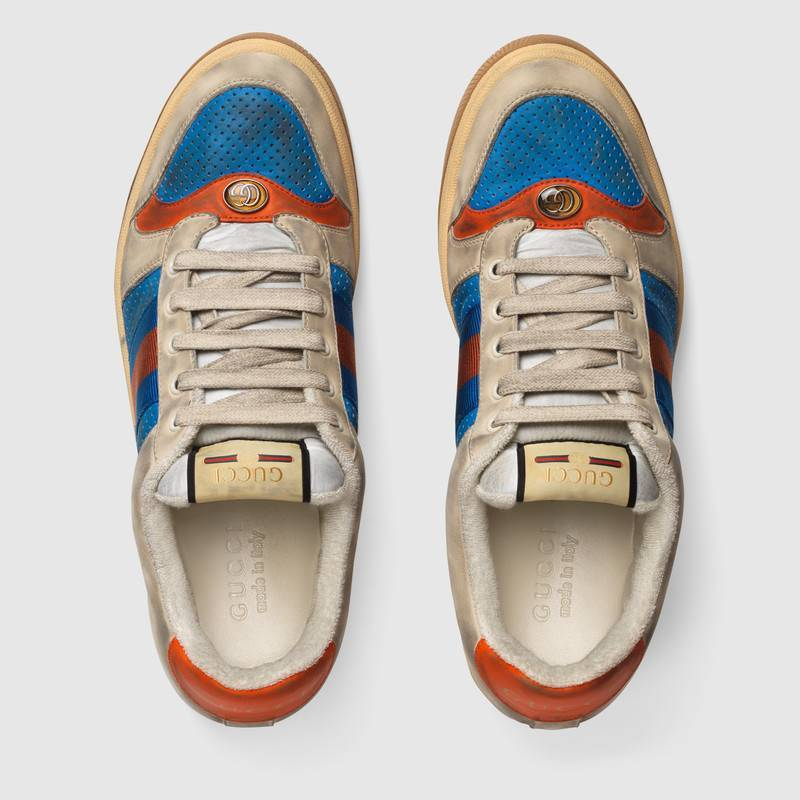 Distressed GG canvas休閒鞋靈感來自七○年代運動鞋,仿舊的外型...