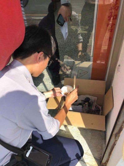 台中市第四警分局黎明派出所警員蔡承儒,前天上午救援一隻困在機車底下的幼貓。圖/台...
