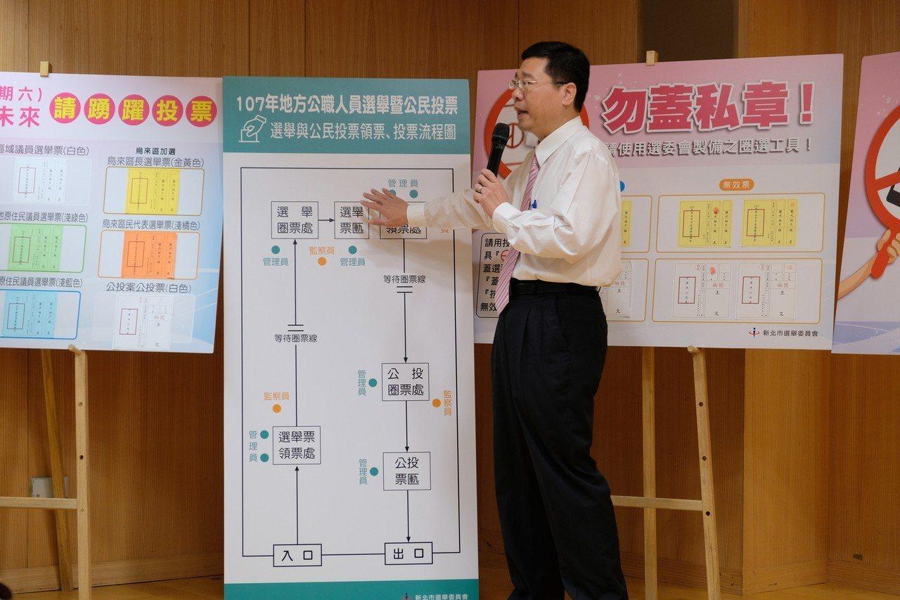 新北市選委會副總幹事黃堯章說明,投開票程序採「選舉領、投,公投領、投」。記者張曼...