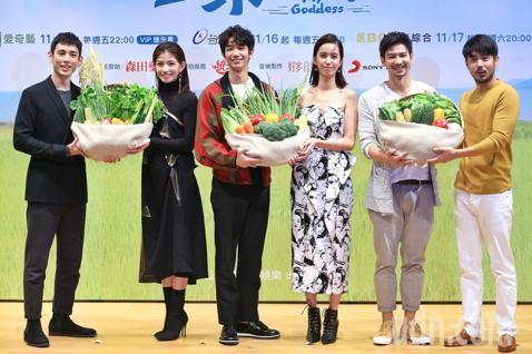 《種菜女神》下午舉行首映發布會,主要演員劉以豪、陳庭妮、李千娜、徐鈞浩、劉子千、鄒承恩出席宣傳。