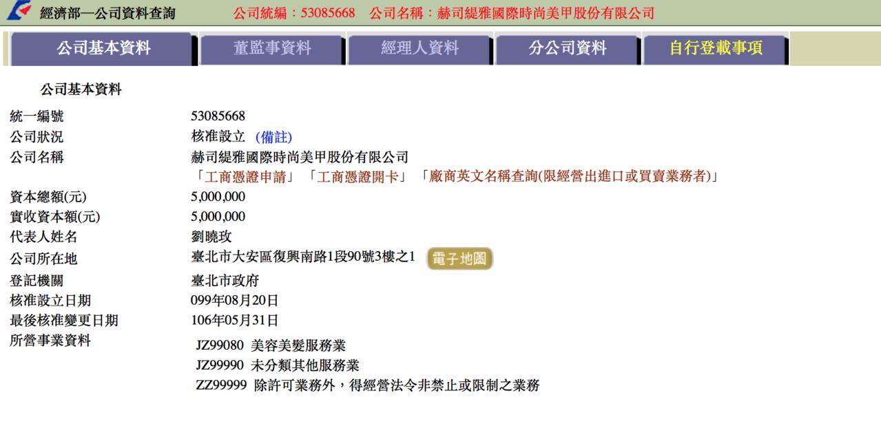 根據查證經濟部營業登記,「赫司緹雅國際時尚美甲」負責人就是劉曉玫。圖/翻攝