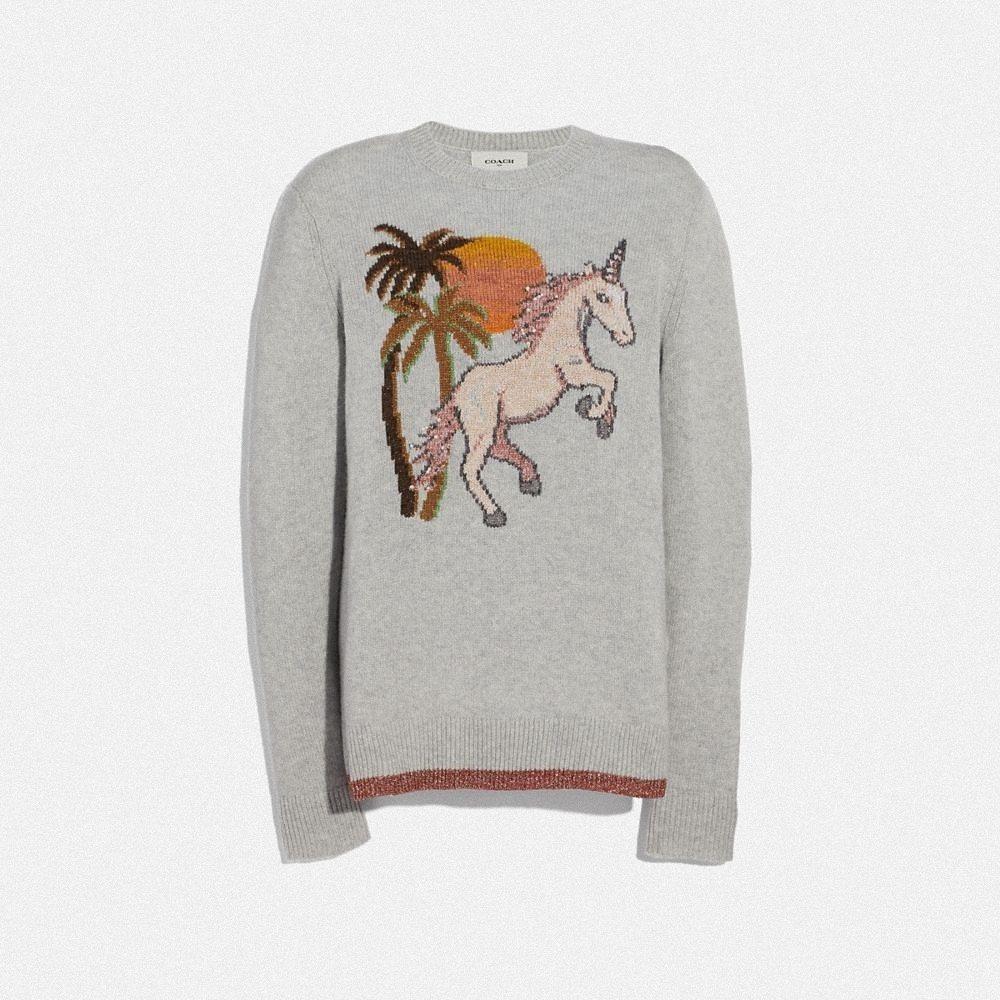 獨角獸灰色毛衣,售價17,800元。圖/COACH提供