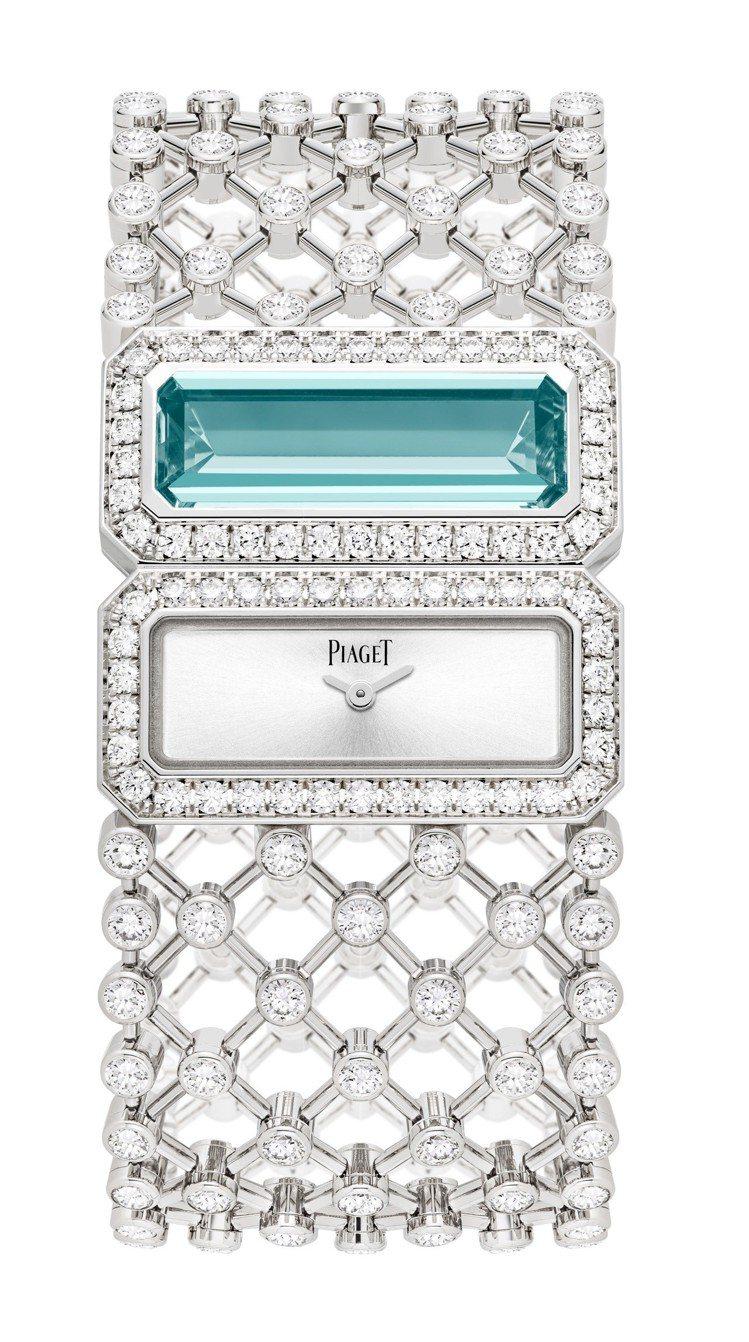 高級珠寶系列手鐲腕表,18K白金,鑲嵌1顆狹長形海藍寶石及228顆圓形美鑽,約5...