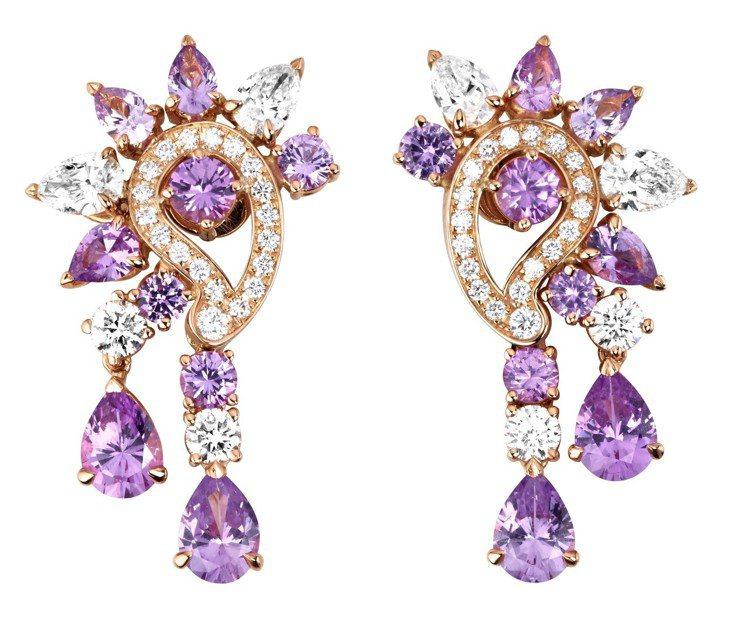 Mythical Journey 系列耳環,18K玫瑰金,鑲嵌10顆梨形粉紅藍寶...