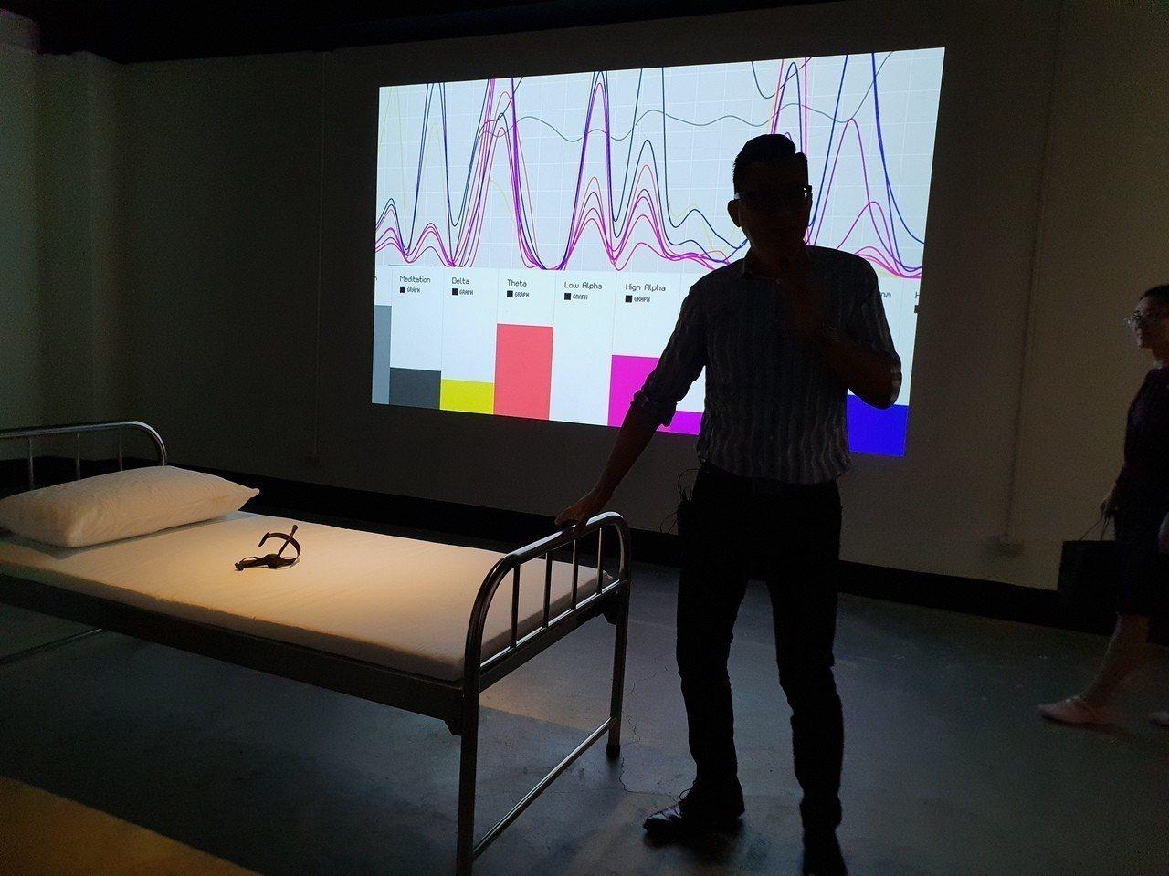 藝術家運用腦波儀器,將觀眾睡眠腦波資料延伸作為聲音表演素材。記者陳宛茜╱攝影
