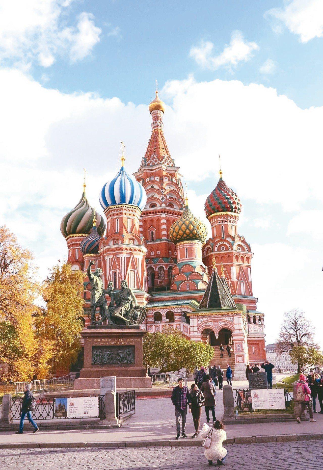 位於莫斯科紅場的聖瓦西里主教堂景致華麗。 圖/陳志光、游慧君