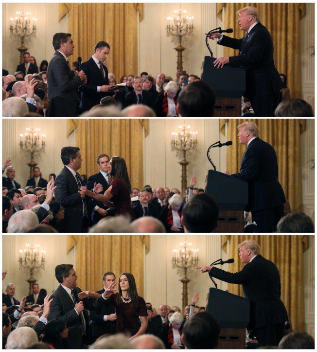 川普總統與CNN記者阿科斯塔發生爭執(上),白宮助理上前欲取回阿科斯塔手中麥克風...