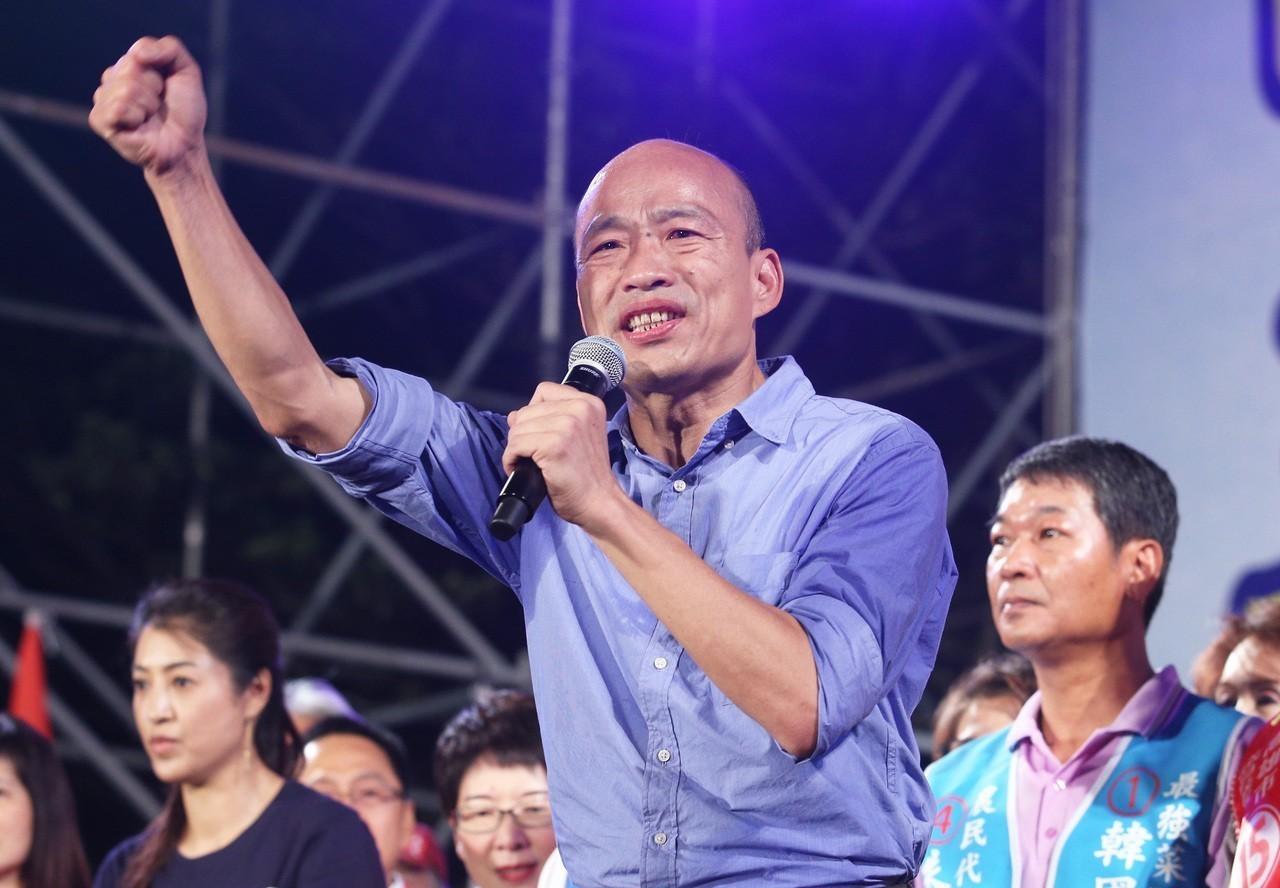 國民黨高雄市長候選人韓國瑜讓藍營氣勢高昂。 記者劉學聖/攝影