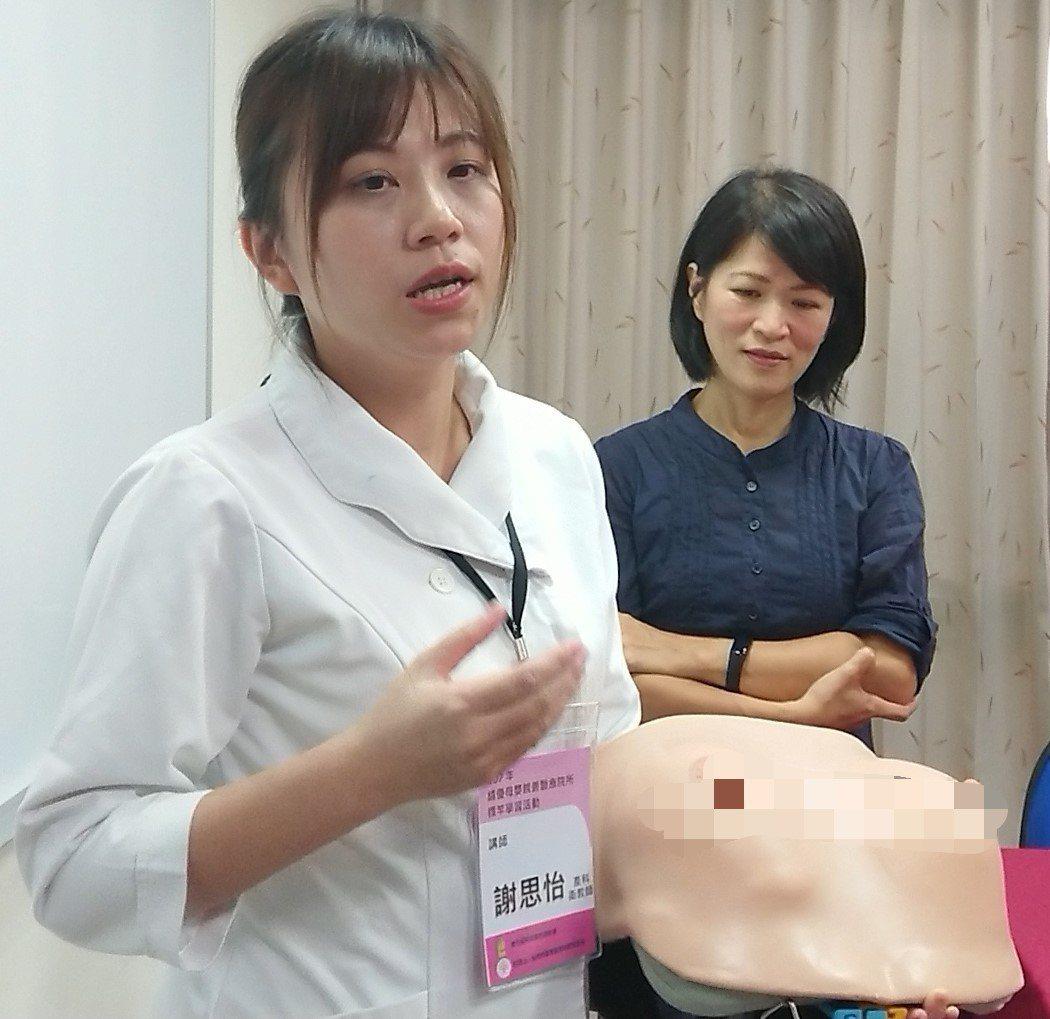 每年協助上百名媽咪順利哺乳的高醫哺乳衛教師謝思怡(左)說,催奶除了正確方法,心態...