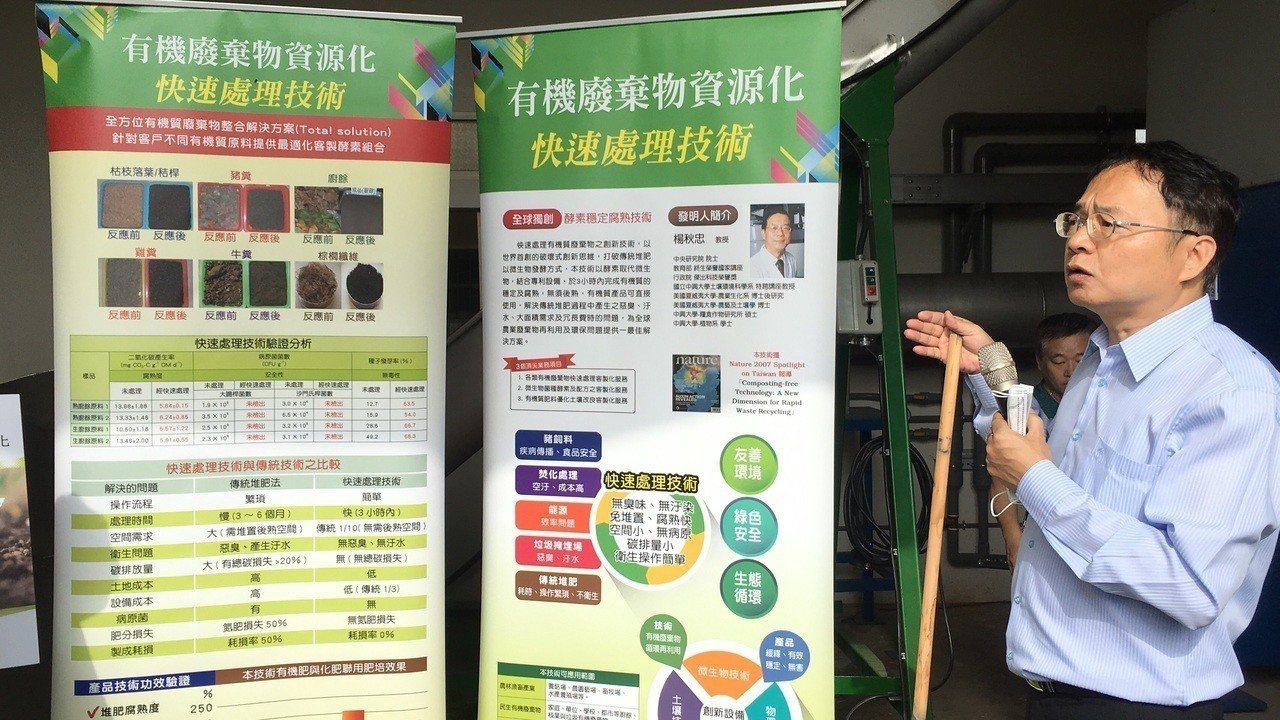 楊秋忠指出,此技術是免堆肥專利菌的反應酵素取代微生物,再用專利的五合一創新系統設...