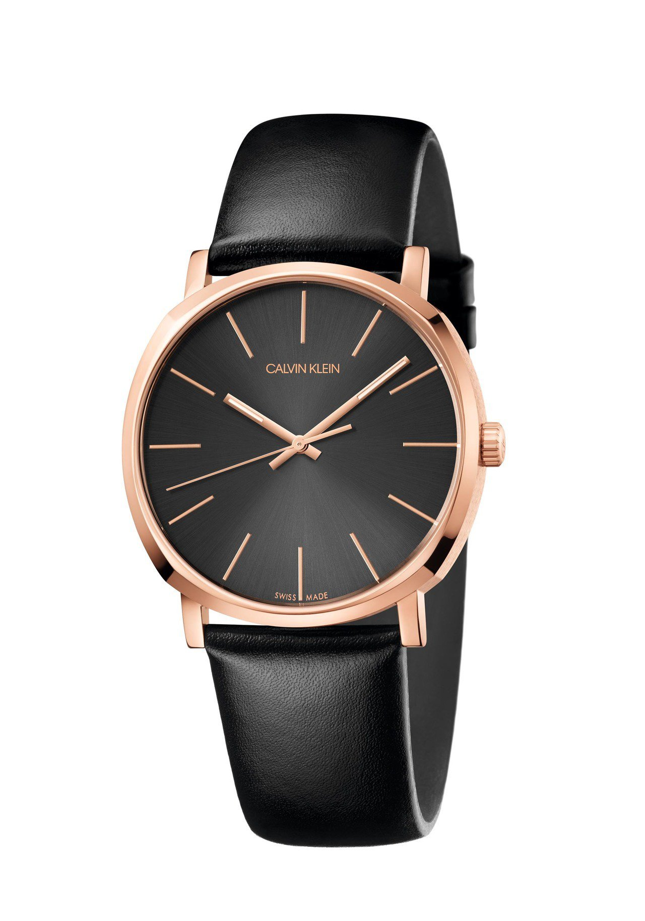 CALVIN KLEIN Posh潮流系列腕表,玫瑰金PVD不鏽鋼表殼,搭配黑色...