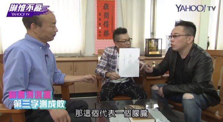 詹惟中(右)、沈玉琳訪韓國瑜,幫他測字看選運。圖/擷自YAHOO!TV