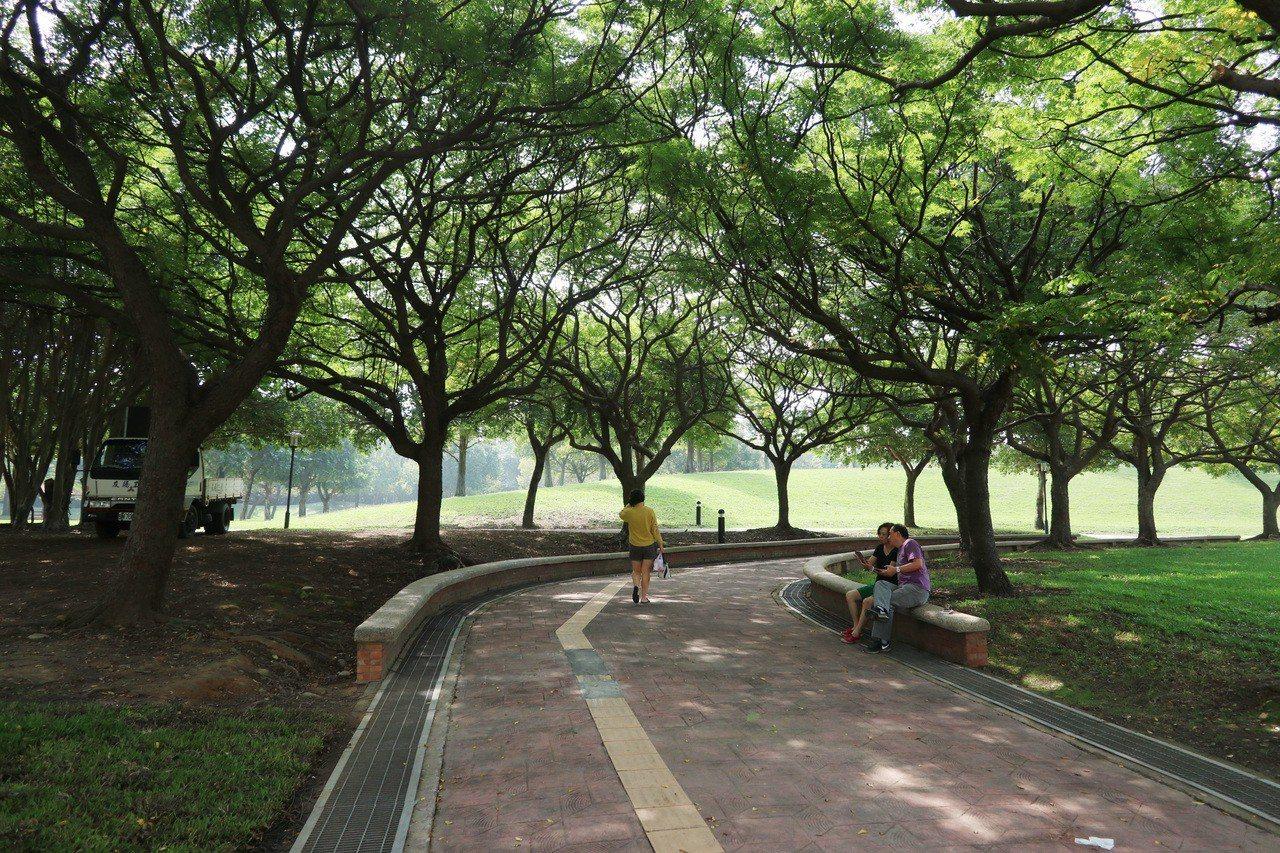 桃園大溪埔頂公園面積約5.5公頃,大片綠地景觀,成為民眾休閒遊憩好去處。記者許政...