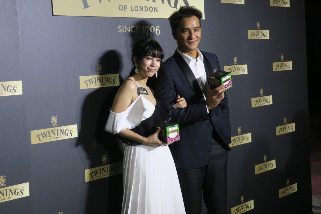馬志翔與溫貞菱一起為唐寧茶新品發表會站台。記者蘇詠智/攝影