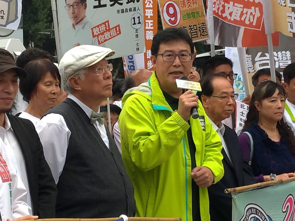 民進黨台北市長候選人姚文智上午出席東奧正名公投宣傳活動。記者莊琇閔/攝影