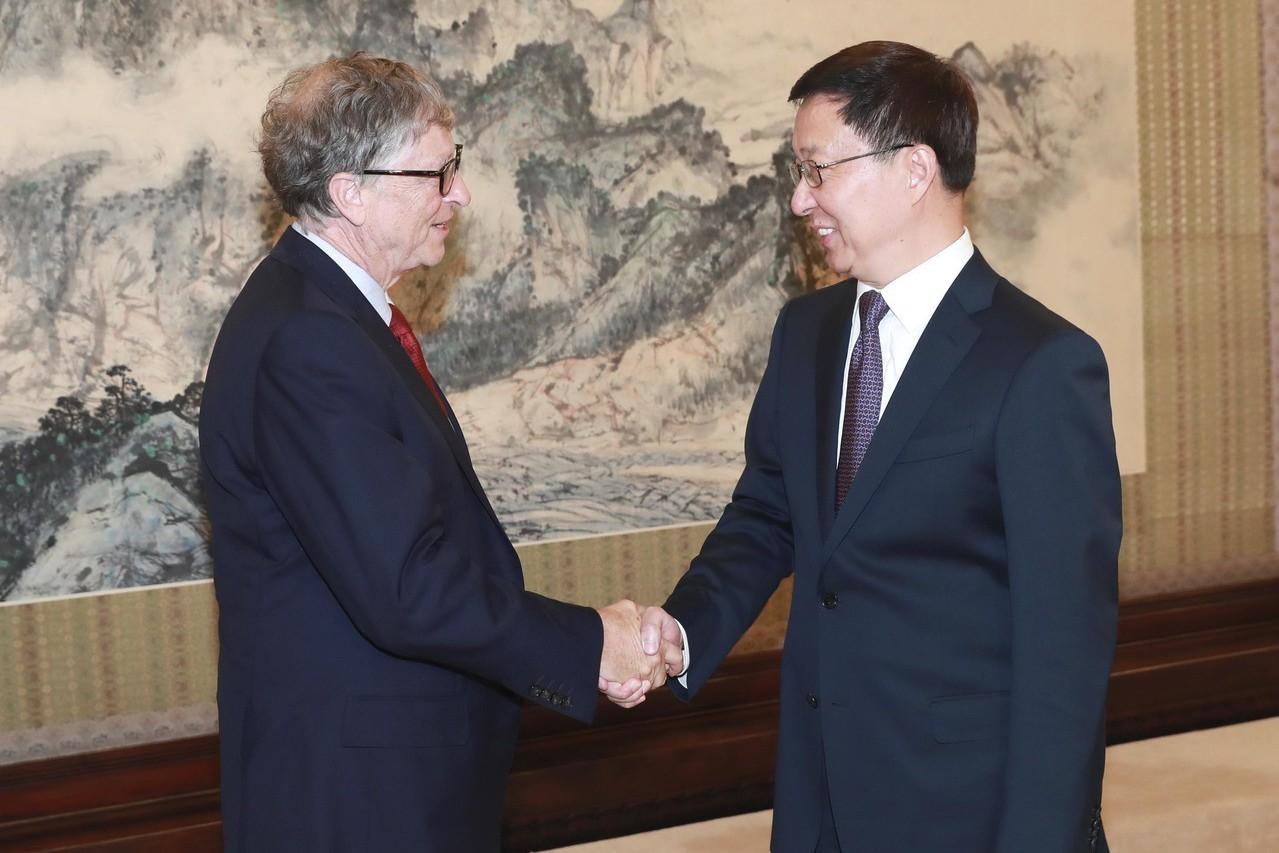 韓正會見比爾蓋茨,籲美企業積極來華開展能源合作。 新華社
