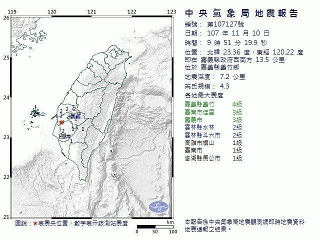 今天上午9時51分嘉義縣發生規模4.3的地震。圖/中央氣象局提供