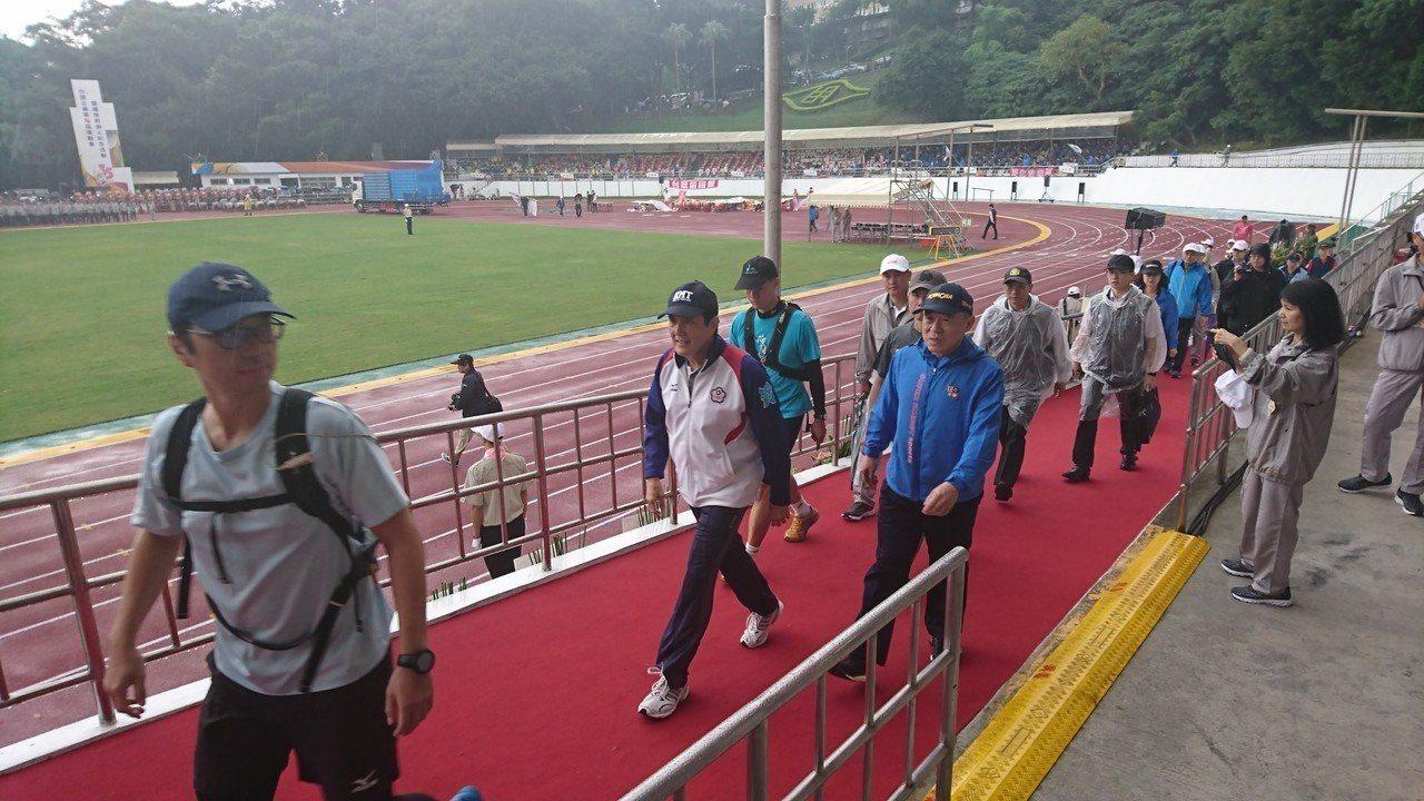前總統馬英九也到場參加台塑集團運動會。 記者/黃淑惠攝影