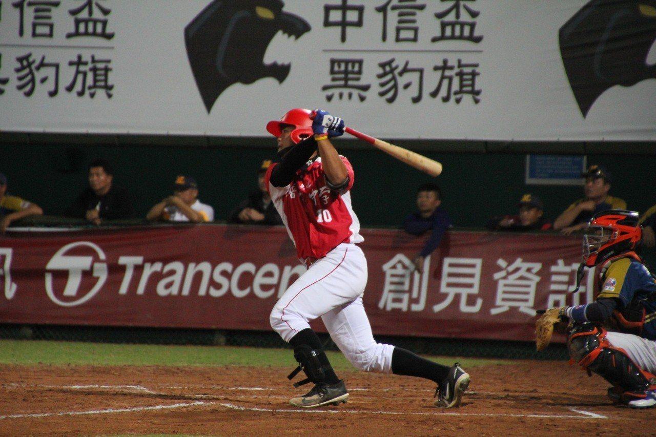 普門陳震洋在5局下敲回勝利打點。記者葉姵妤/攝影