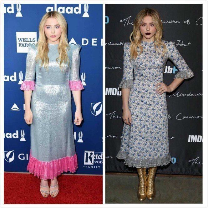 既視感的荷葉袖口、裙襬,兩件The Vampire's Wife洋裝穿在她身上不...