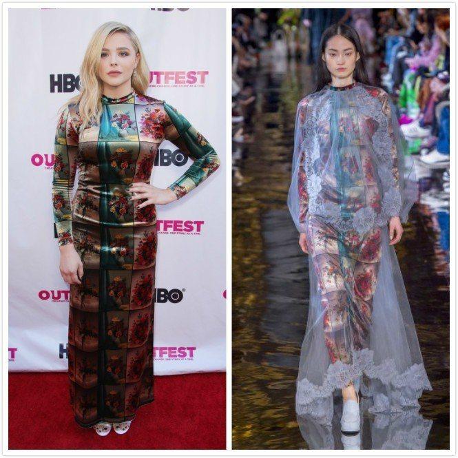 克羅伊摩蕾茲穿Stella McCartney演繹同一件衣服、兩個世界。圖/左圖...