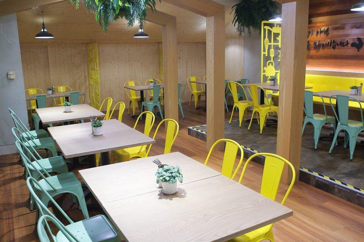 NeNe Chicken台灣首店設有用餐座位區。