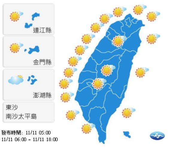 今天全台各地都是好天氣。圖/擷取自氣象局官網